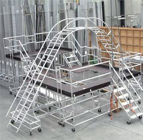 castors fitted to scaffolding