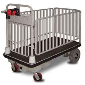 Caged powered platform trolley