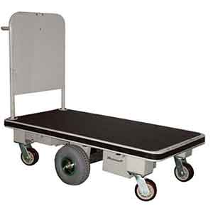 Powered platform trolley with pivoting central drive