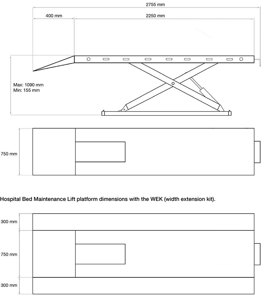 Hospital bed maintenance lift dimensions