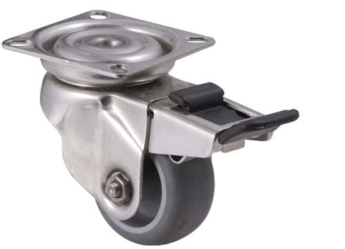Stainless steel castor with grey rubber wheel and plate with swivel and total brake