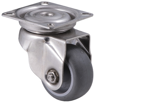 Stainless steel castor with grey rubber wheel and plate with swivel