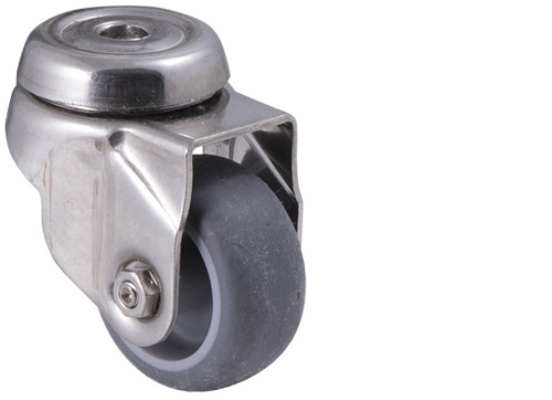 Stainless steel castor with Grey rubber wheel and bolt hole with swivel