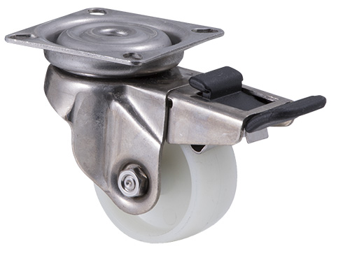 Stainless steel castor with white nylon wheel and swivel plate and total brake
