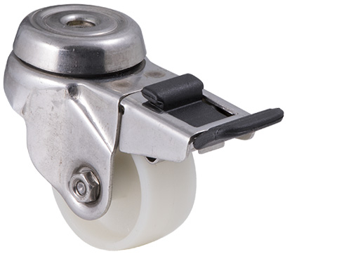 Stainless steel castor with white nylon wheel and bolt hole with swivel and total brake