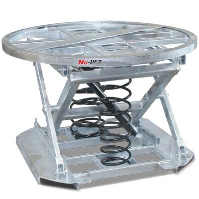 Galvanised pallet positioner with turntable. Safely lift up to 2000 kg on a 1100 mm diameter platform