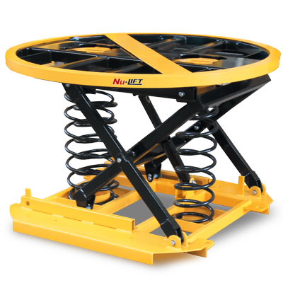 Powder-coated pallet positioner turntable. Lift up to 2000 kg.