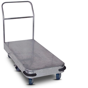 IT450 Galvanised stock room platform trolley (six castors)