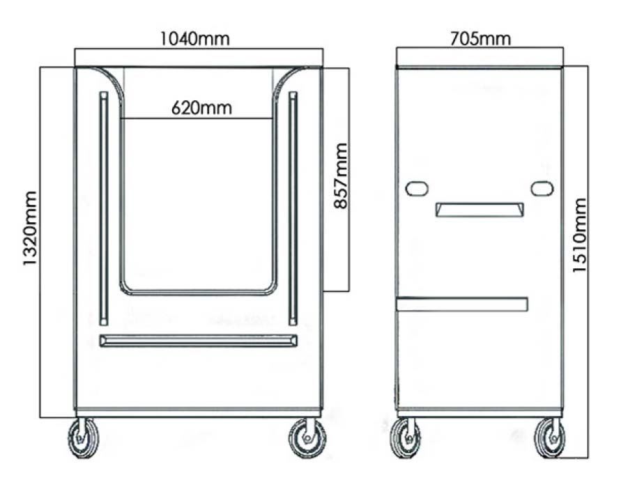 PolyTroly laundry linen trolley diagram