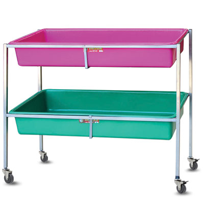 Display stand with castors and removable tubs -