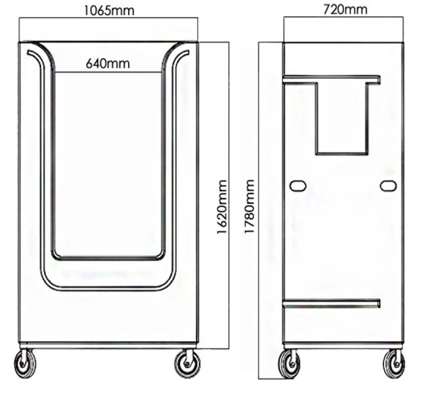 Tallboy poly laundry linen trolley diagram