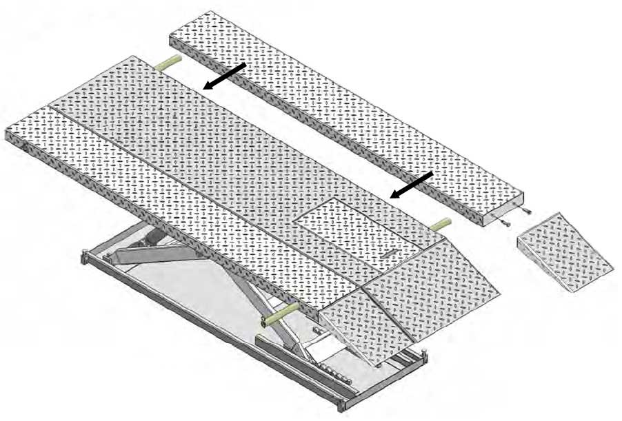 Hospital bed maintenance lift with the width extension kit
