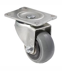 100 mm diameter grey non-marking rubber castors (300 kg load capacity) BOXSIOSQ100/OZP