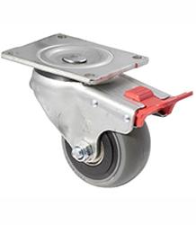 100 mm diameter grey non-marking rubber castors (300 kg load capacity) BOXSIOSQ100/OZPTB