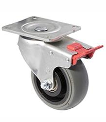 100 mm diameter grey non-marking rubber castors (330 kg load capacity) BOXSIOSQ125/OZPTB